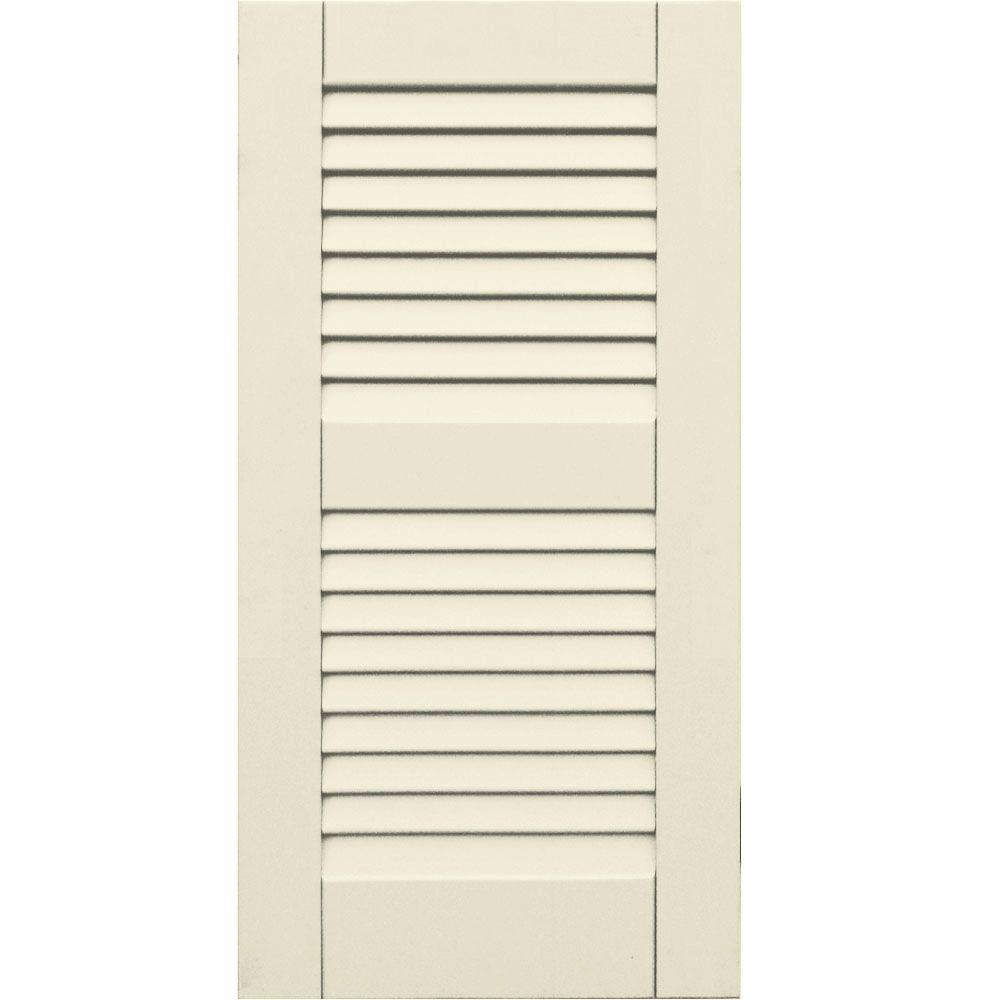 Winworks Wood Composite 15 in. x 30 in. Louvered Shutters Pair #651 Primed/Paintable