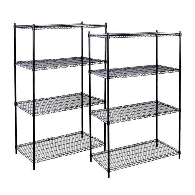 2-Pack Black 4-Tier Wire  Shelving Unit (60 in. W x 63 in. H x 18 in. D)