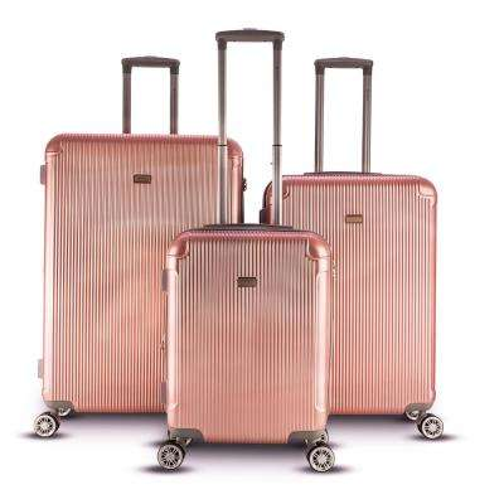 Genova 3-Piece Hardside Upright Spinnern Luggage Set in Rose Gold