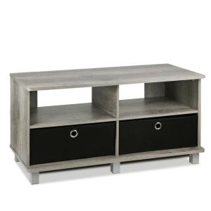 Home Living French Oak Grey Entertainment Center