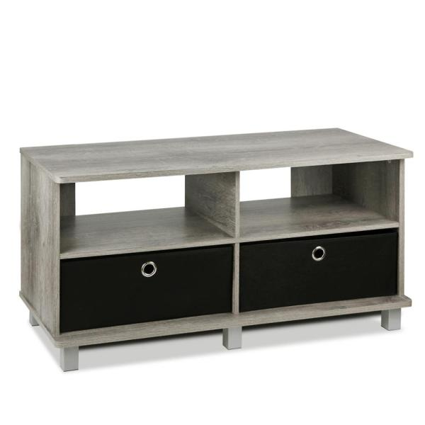 Furinno Home Living French Oak Grey Entertainment Center 11156GYW/BK