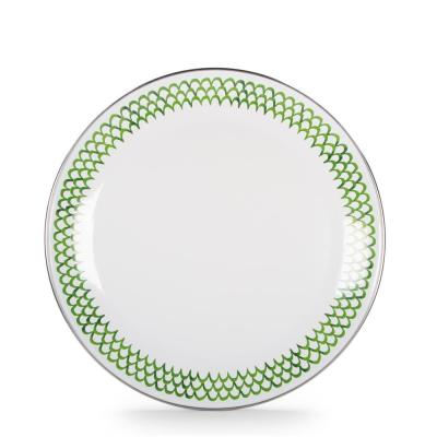 10.5 in. Green Scallops Enamelware Round Dinner Plate