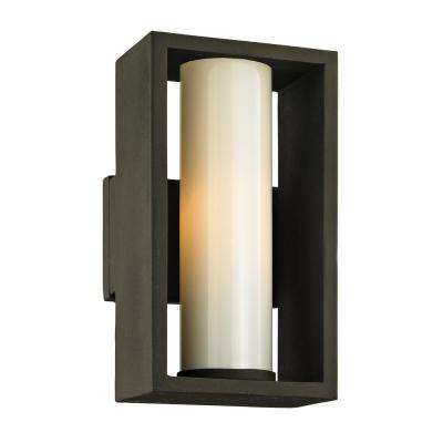 Mondrian 1-Light Textured Bronze 12 in. H Outdoor Wall Lantern Sconce with Opal White Glass