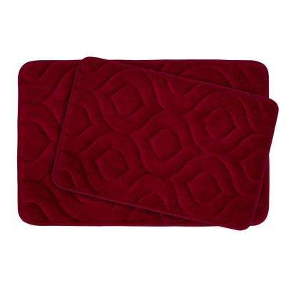 Naoli Barn Red 20 in. x 34 in. Memory Foam 2-Piece Bath Mat Set