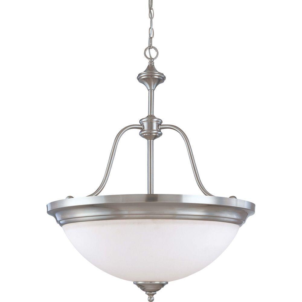 Glomar 4-Light Brushed Nickel Large Pendant with Satin White Glass