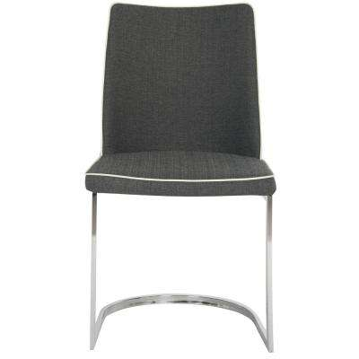 Parkston Dark Gray/White Piping 18 in. H Linen Side Chair (Set of 2)