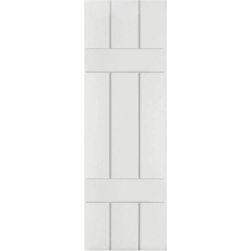 Ekena Millwork 12 in. x 52 in. Exterior Composite Wood Board and Batten Shutters Pair Primed