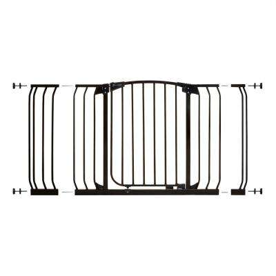 Chelsea 29.5 in. H Standard Height and Extra Wide Auto-Close Security Gate in Black with Extensions