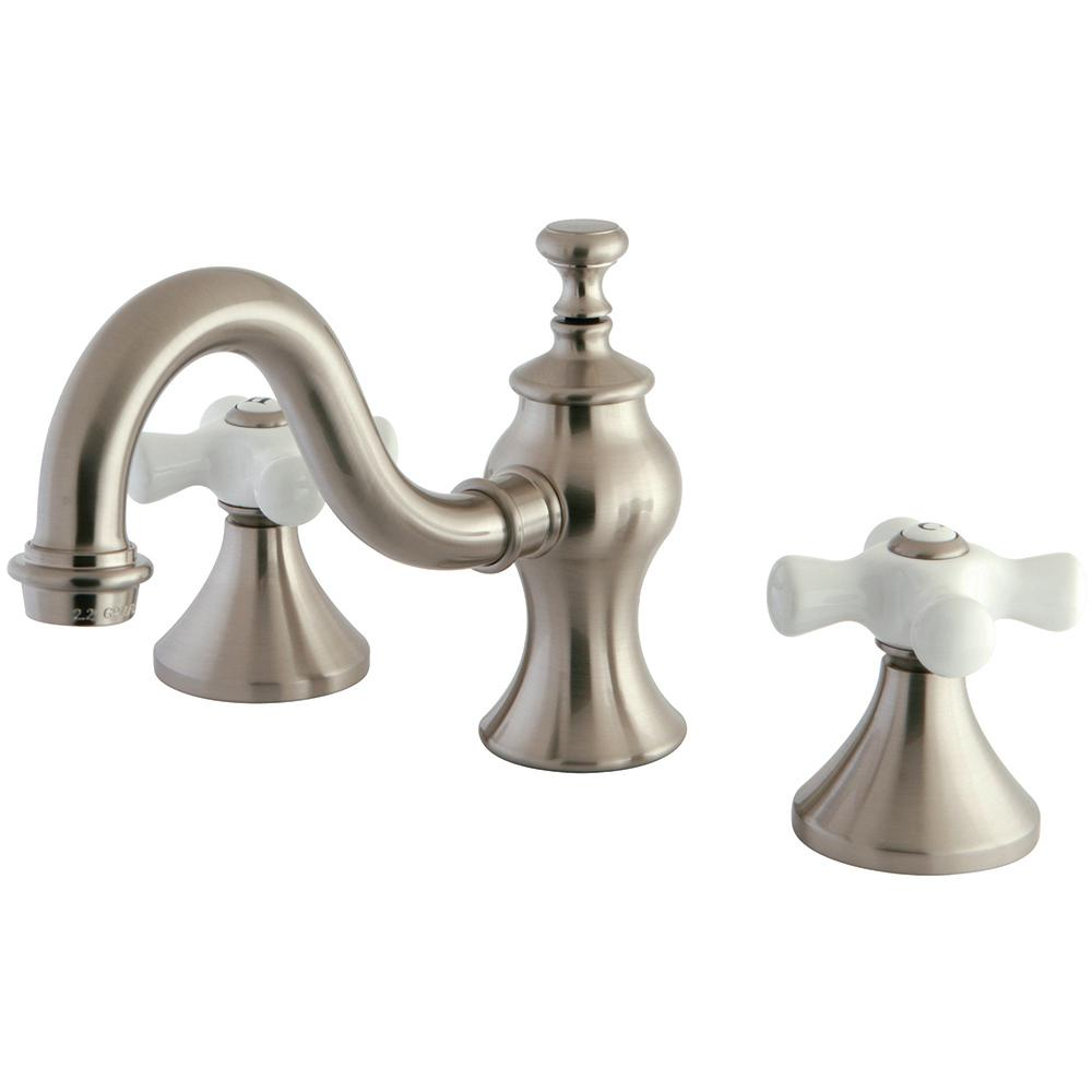 Kingston Br Porcelain Cross 8 In Widespread 2 Handle High Arc Bathroom Faucet