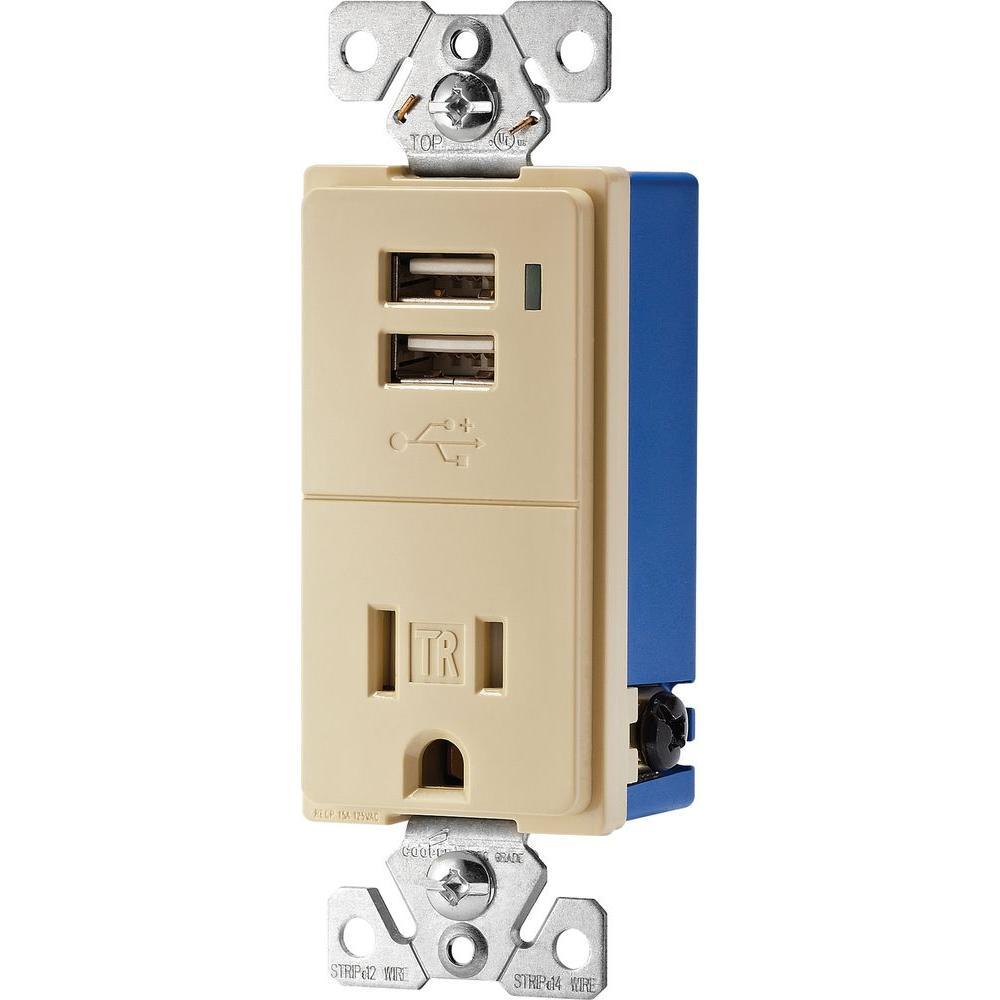 2 Port USB Charger Duplex Tamper Resistant Receptacle with LED light NEW MODEL