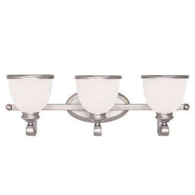 3-Light Pewter Bath Bar Light with White Marble Glass