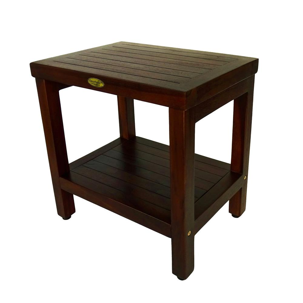 DecoTeak Classic 18 in. Teak Shower Bench with Shelf-DT114 - The ...