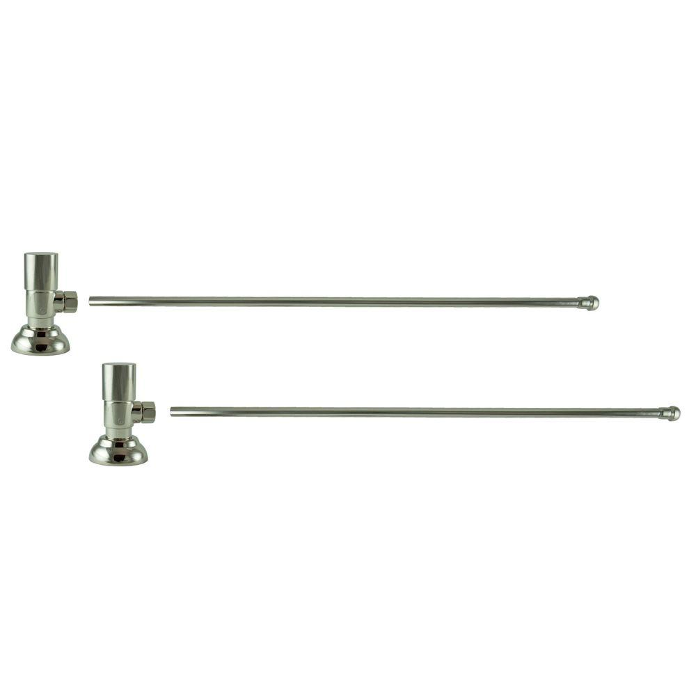 3/8 in. O.D x 20 in. Brass Rigid Lavatory Supply Lines with Round Handle Shutoff Valves in Polished Nickel Barclay provides all your essential bathroom needs. Enjoy the convenience of accessible water shut-off with these decorative lavatory supplies. Choose from 4 designer finishes. Color: Polished Nickel.