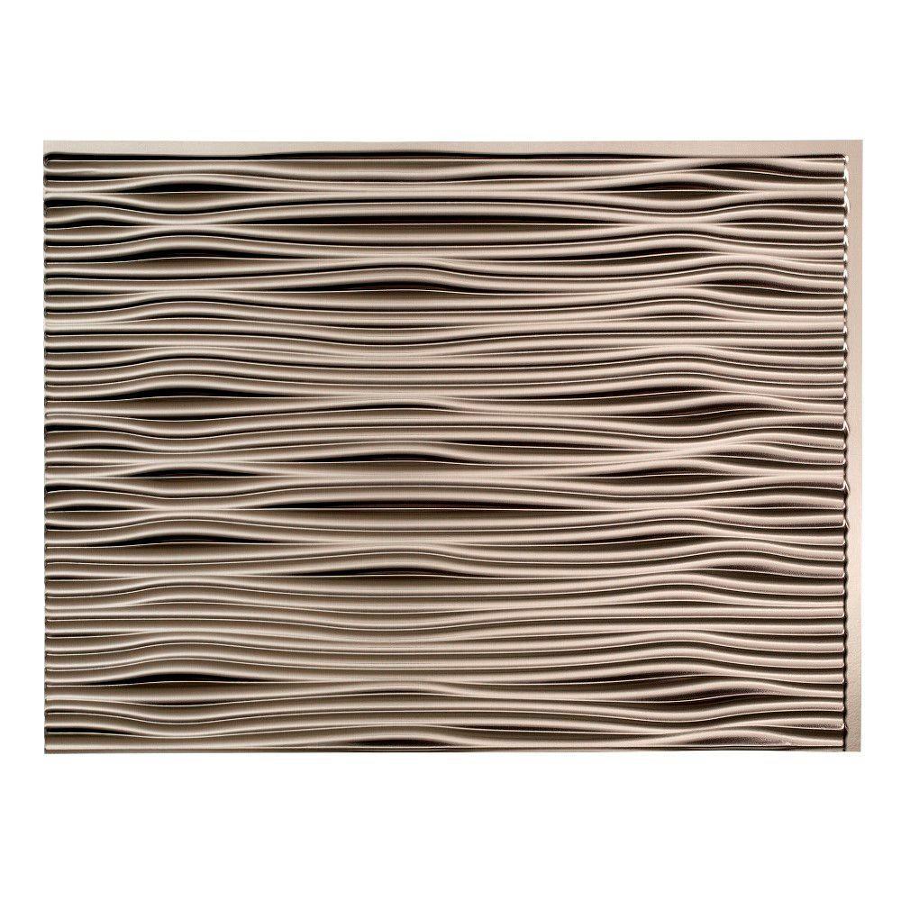 18.25 in. x 24.25 in. Waves Vinyl Backsplash Panel in Brushed Nickel (5-Pack)