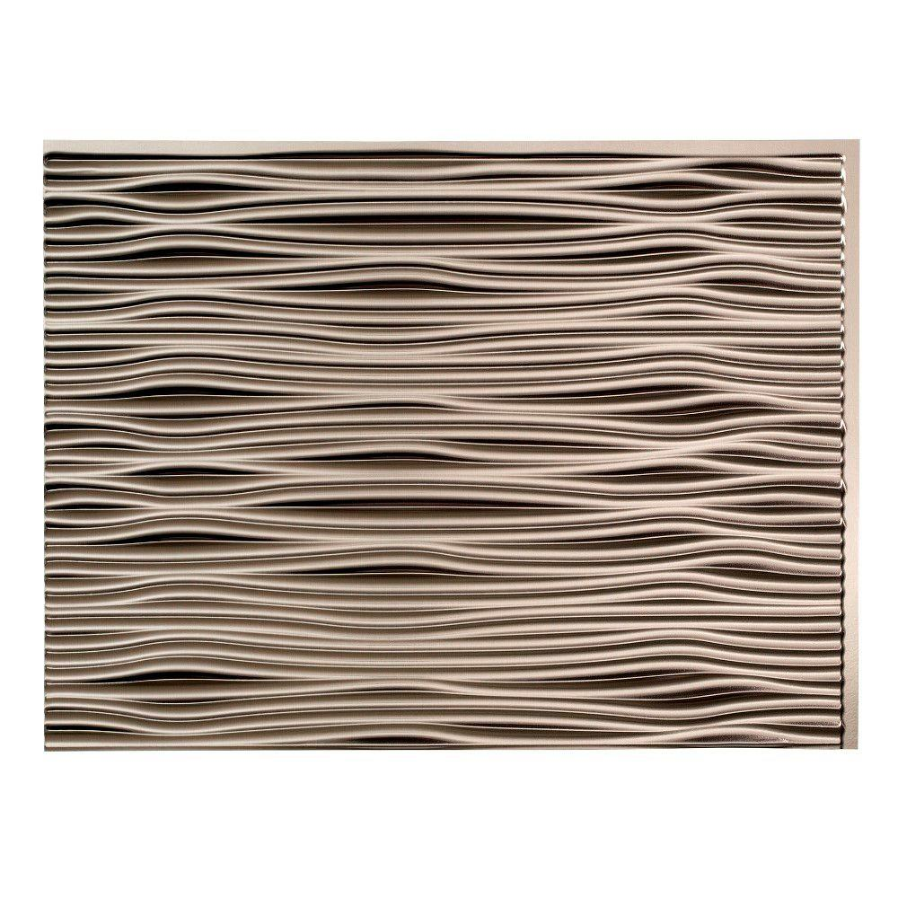 18.25 in. x 24.25 in. Brushed Nickel Waves PVC Decorative Tile Backsplash