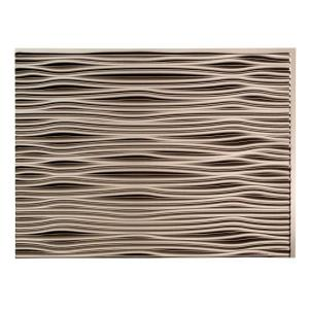 18.25 in. x 24.25 in. Brushed Nickel Waves PVC Decorative Tile Backsplash