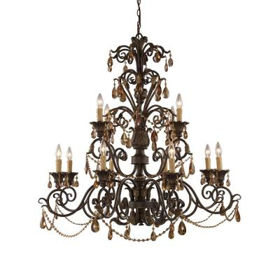 Rochelle 12-Light Weathered Mahogany Ceiling Mount Chandelier