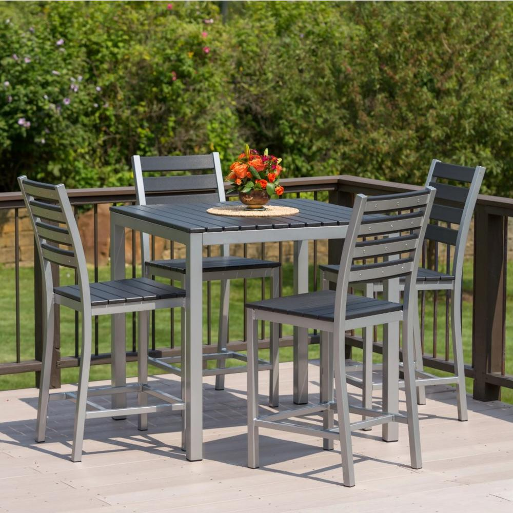 Elan Furniture Loft 5 Piece Aluminum Outdoor Balcony Height Dining Set