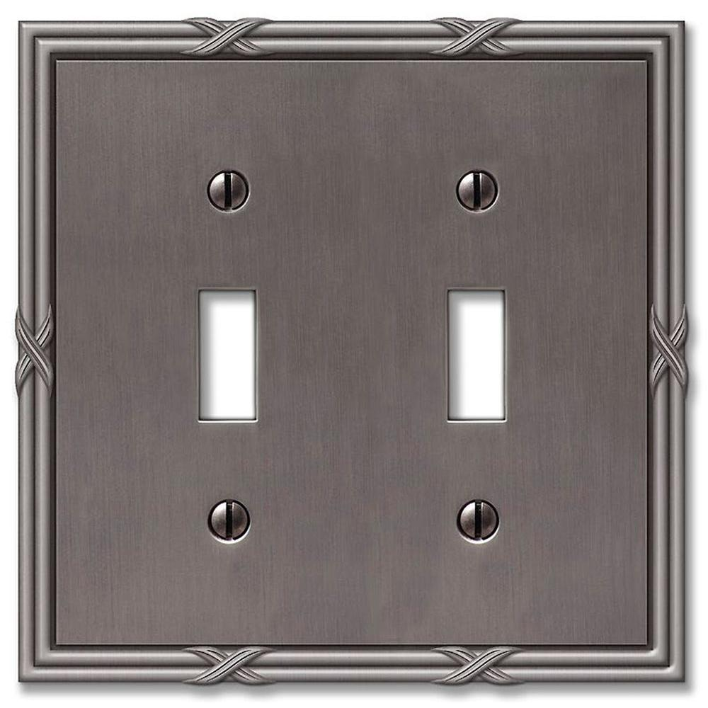 Amerelle Ribbon and Reed 2 Toggle Wall Plate - Antique Nickel & Amerelle Ribbon and Reed 2 Toggle Wall Plate - Antique Nickel-44TTAN ...