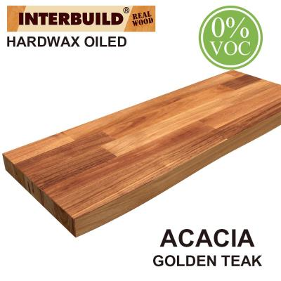 Acacia 2 ft. L x 10 in. D x 1.5 in. T Butcher Block Countertop Floating Wall Shelf in Golden Teak Stain with Live Edge