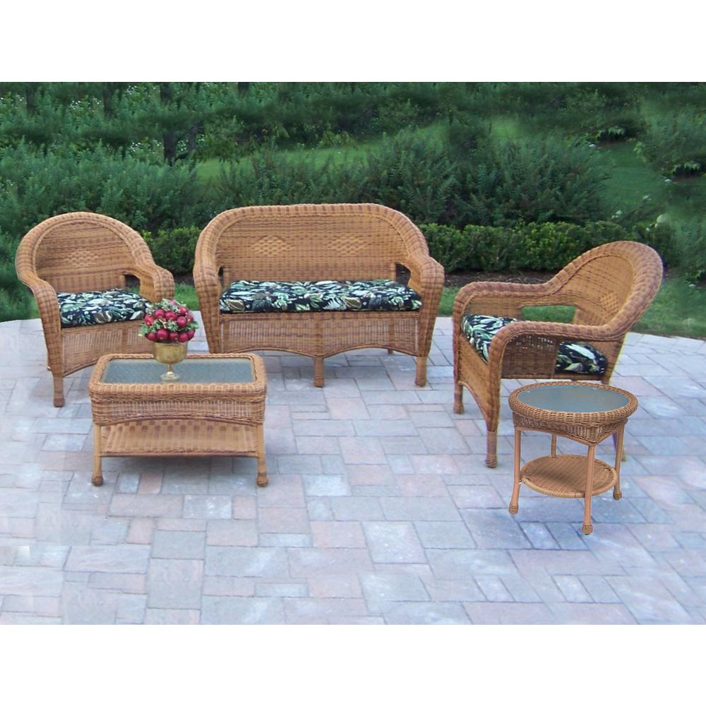 Natural 5-Piece Wicker Patio Conversation Set with Black Floral Cushions