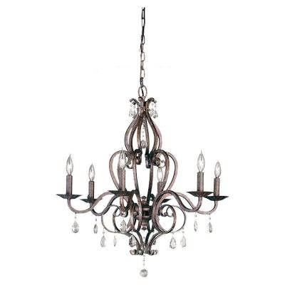 Mademoiselle 6-Light Peruvian Bronze 1-Tier Chandelier