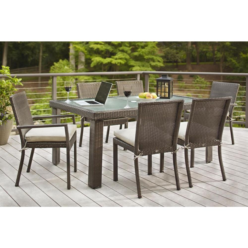 Hampton bay beverly 7 piece wicker outdoor patio dining for Outdoor table set