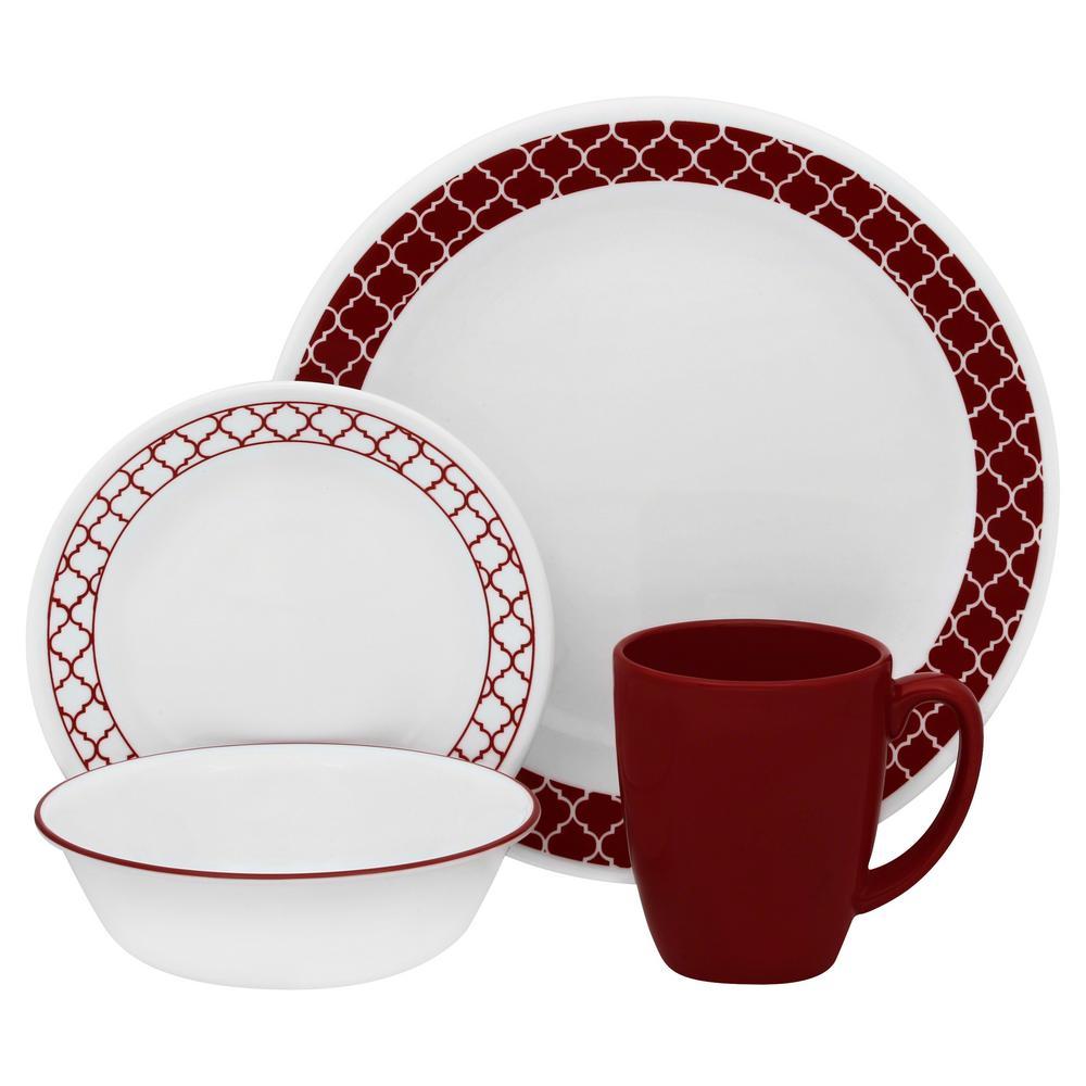 Classic 16-Piece Crimson Trellis Dinnerware Set