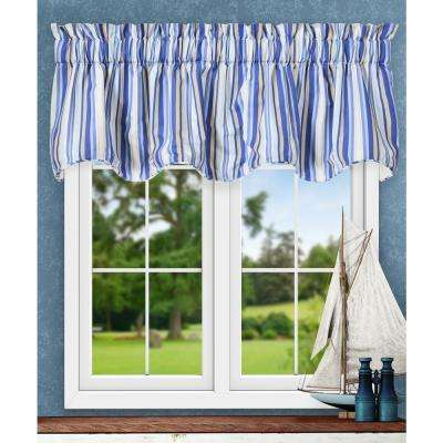 Mason Stripe 17 in. L Poly/Cotton Lined Scallop Valance in Blue