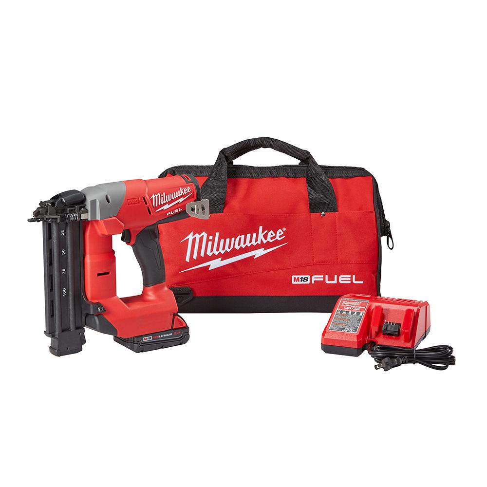 Milwaukee RECONDITIONED M18 FUEL 18-Volt Lithium-Ion Brushless Cordless 18-Gauge Brad Nailer Kit W/ (1) 2.0Ah Battery & Charger