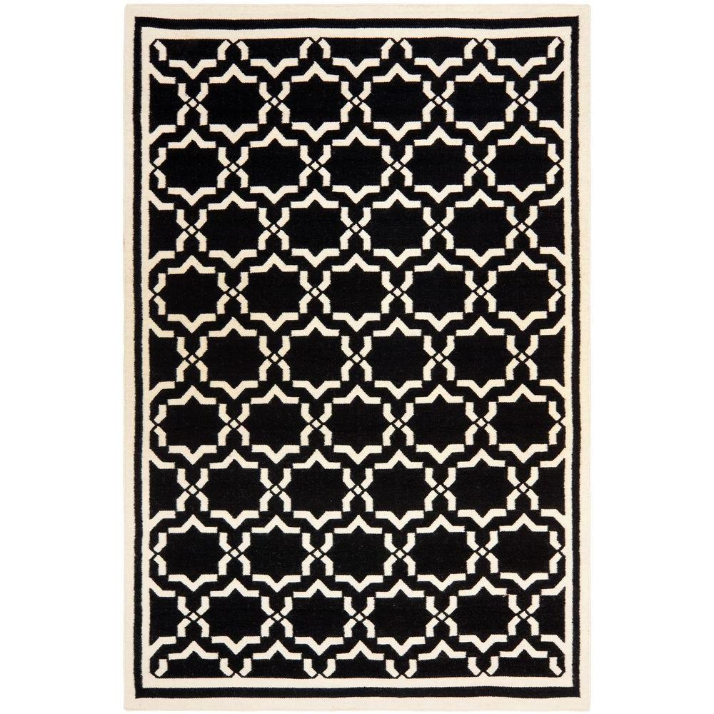 Safavieh Dhurries Black/Ivory 10 ft. x 14 ft. Area Rug