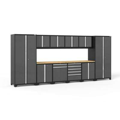 Pro 3 Series 184 in. W x 83.25 in. H x 24 in. D 18-Gauge Welded Steel Bamboo Worktop Cabinet Set in Gray (12-Piece)