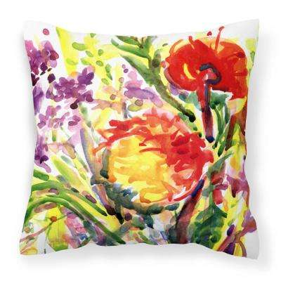 14 in. x 14 in. Multi-Color Lumbar Outdoor Throw Pillow Flower Decorative Canvas Fabric Pillow