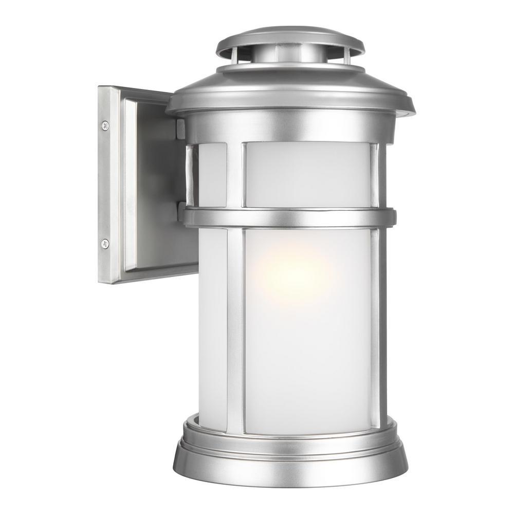 Newport 1-Light Painted Brushed Steel Outdoor Wall Mount Lantern