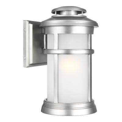 Newport 1-Light Painted Brushed Steel Outdoor 13 in. Wall Lantern Sconce