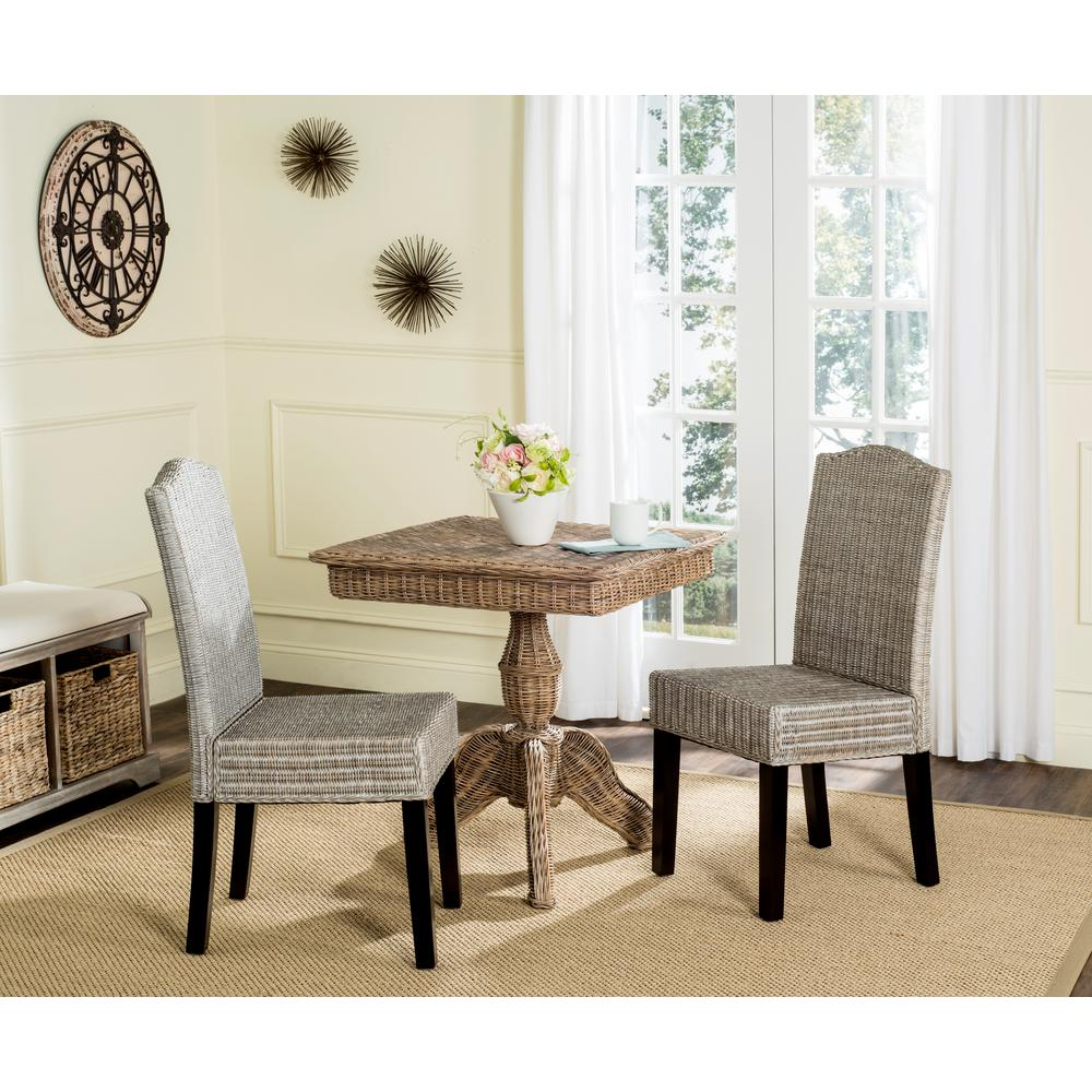 Safavieh Odette Antique Gray 19 in. H Wicker Dining Chair (Set of 2 ...