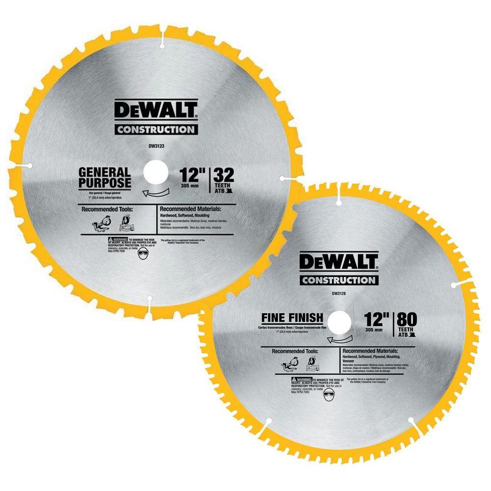DEWALT 12 in  Miter Saw Blade 32-Teeth and 80-Teeth (2-Pack)