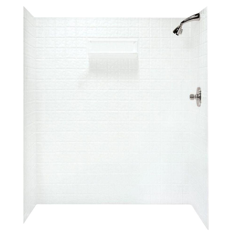 Swan 36 in. x 65 in. x 72 in. 5-piece Easy Up Adhesive Alcove Shower ...