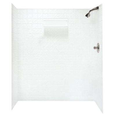 36 in. x 64-3/4 in. x 71-5/8 in. 5-piece Easy-Up Adhesive Shower Wall Kit in White