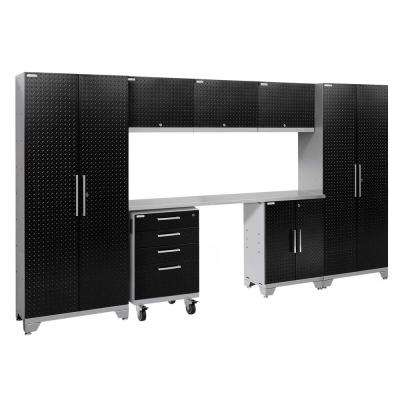 Performance 2.0 Diamond Plate 77.25 in. H x 132 in. W x 18 in. D Stainless Steel Worktop Cabinet Set Black (8-Piece)