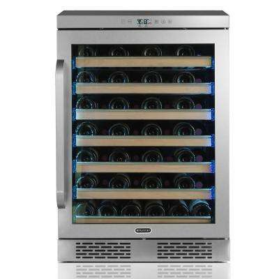 Elite Spectrum Lightshow 54 Bottle Stainless Steel 24 in. Built-in Wine Refrigerator with Touch Controls and Lock
