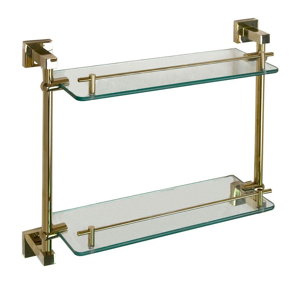 Barclay Products Jordyn 17 in. W Double Shelf in Glass and Polished Brass
