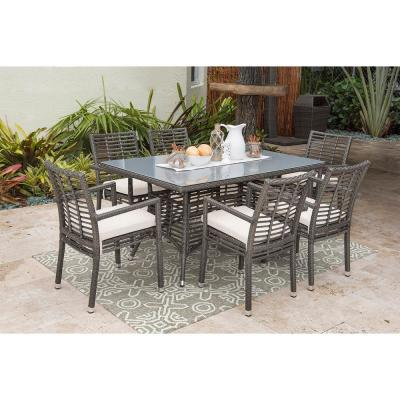 Panama Jack Graphite Gray 7-Piece Wicker Outdoor Dining Set with Off-White Cushions