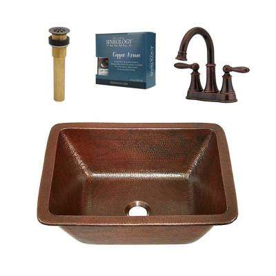 Hawking 17 in. All-In-One Undermount or Drop-In Copper Sink Design Kit with Pfister Faucet and Drain in Bronze