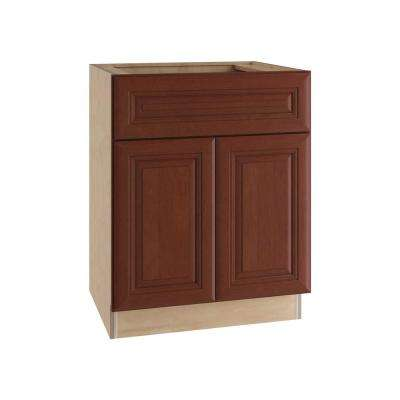 lyndhurst assembled base cabinet with double doors in cabernet - Birch Kitchen Cabinets