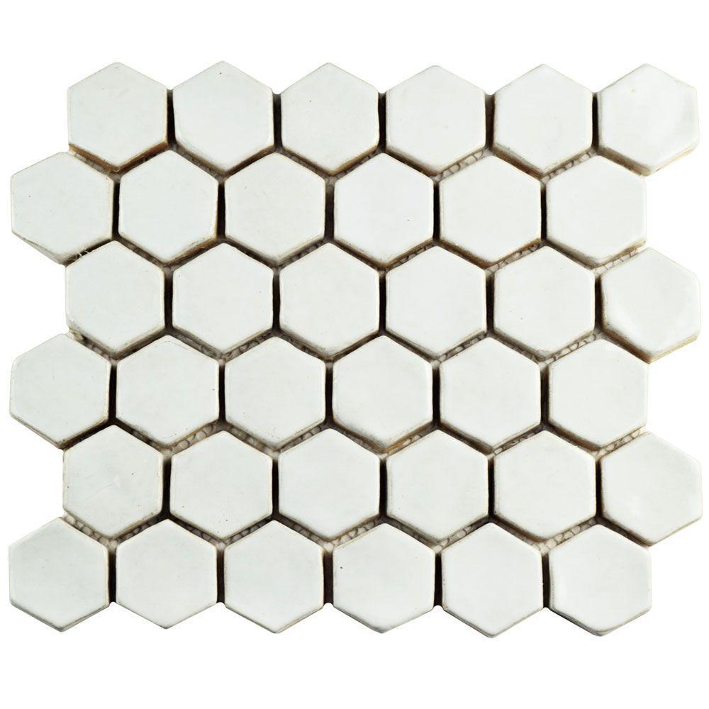 Cobble Hexagon White 10-1/2 in. x 12 in. x 13 mm Ceramic Mosaic Tile