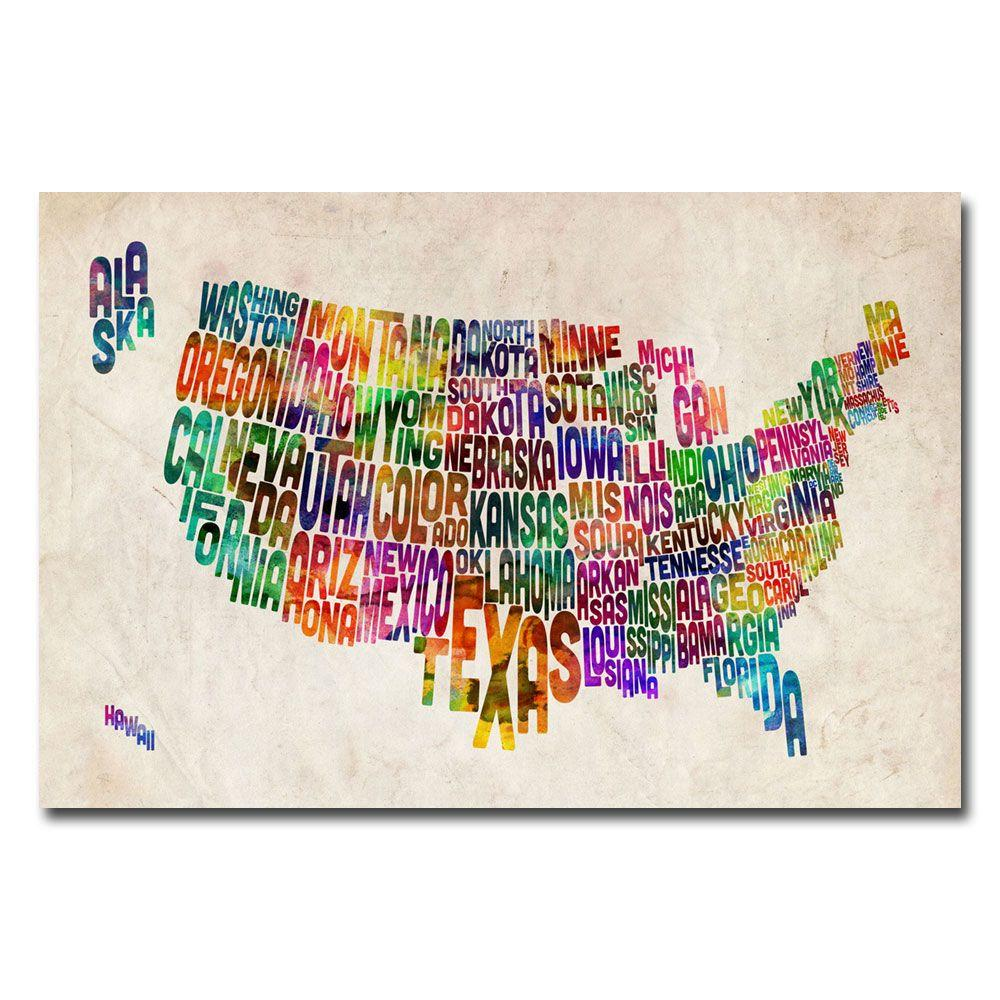 16 in. x 24 in. US States Text Map Canvas Art
