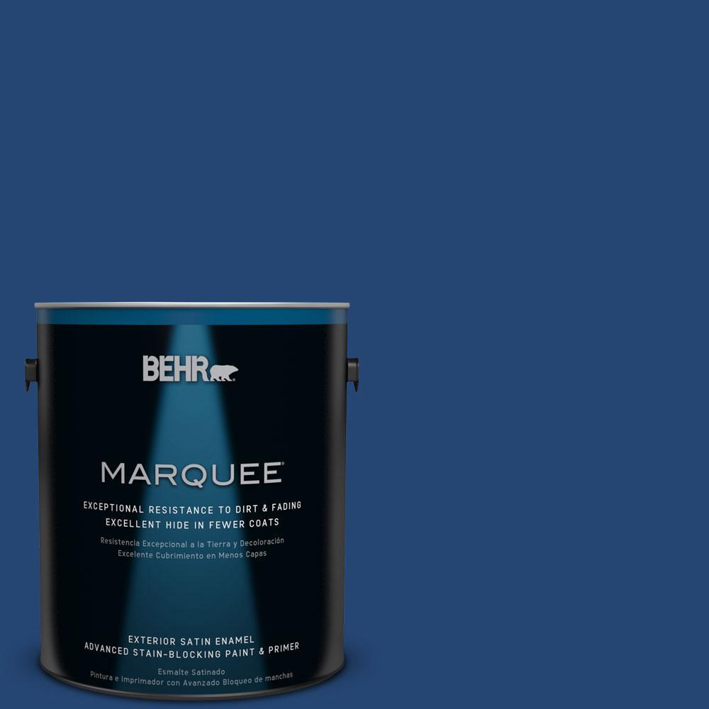 BEHR MARQUEE 1-gal. #S-H-580 Navy Blue Satin Enamel Exterior Paint