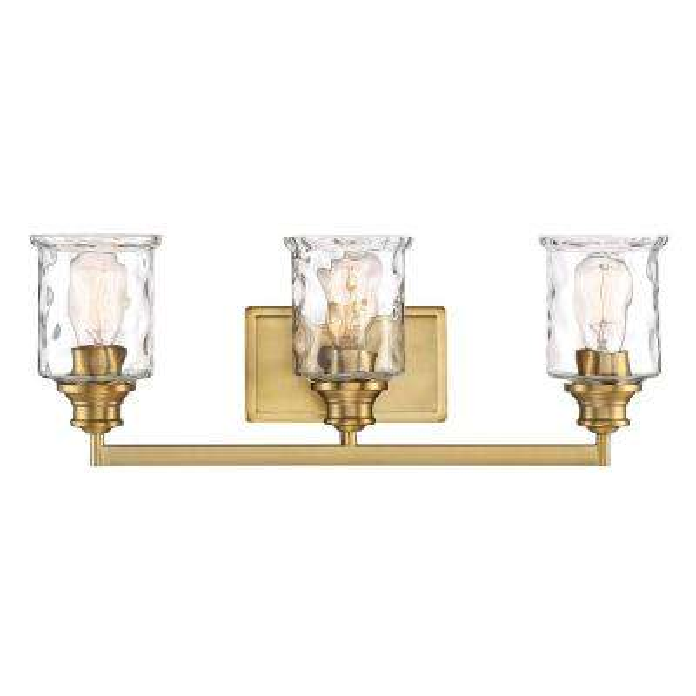 Drake 3-Light Brushed Gold Bath Bar Vanity Light