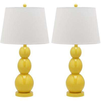Jayne 27.5 in. Yellow Three Sphere Glass Lamp (Set of 2)